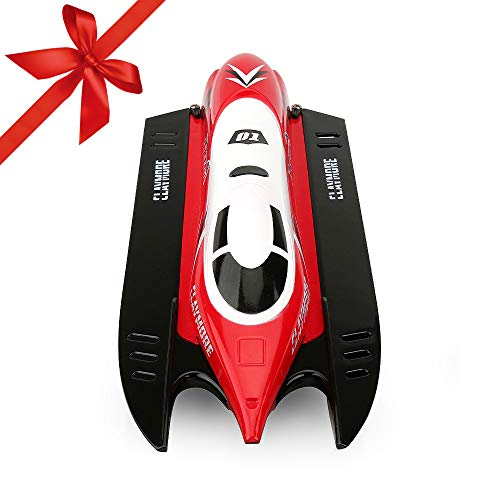 FUNTECH RC Boats for Kids Adults - Remote Control Boats for Pools and Lakes, 20MPH 2.4GHz Radio Controll Boat with Self-righting Auto Roll Back, Your First RC Boat for Outdoor Adventure, Red