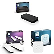 Philips Hue Play HDMI Sync Box Bundle, Includes Hue Play Twin Pack (White), Surround Lighting for TV...