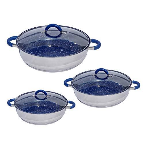 Set 3 cacerolas arrocera acero inoxidable antiadherente de mármol azul de acero inoxidable (24cms, 28 cms y 30 cms) con tapas de...