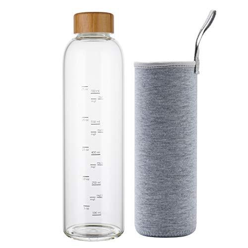 Botella de Agua Cristal 1 Litro con Marcador de Tiempo Funda y Tapa de Bambú Reutilizable para Deportes, Gimnasio, viajes, sin Bpa (Gris)