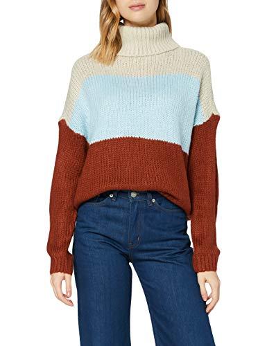 Only ONLMANHATTAN L/S Rollneck Pullover Knt Maglione, Pumice Stone/Stripe: Cashmere Blue/Burnt Henna, M Donna