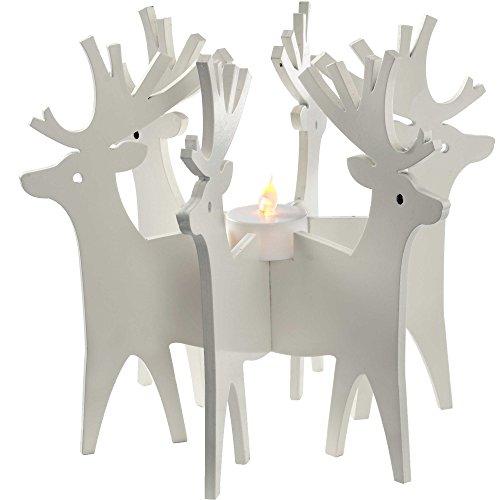 WeRChristmas Renna Portacandela Tea Light E Decorazioni Di Natale, Legno, 19 Cm – Multicolore