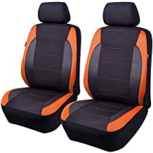 Flying Banner 2 Front car seat Covers Quality Carbon Fiber Faux Leather Mesh Fabric Sport Low Back Bucket Back Pocket Arm Rest Truck Black Blue Gray Red (Orange)