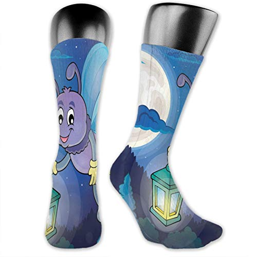 Socks Compression Medium Calf Sock,Cute Little Bug Flying With Lantern On Full Moon Sky Night Childish Kids Cartoon