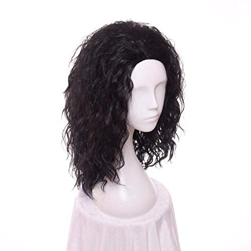 Fashion Wig Black Costumes Rocking Dude Wig Without Bangs Synthetic Hair Cosplay Wig For Costume Party 45Cm
