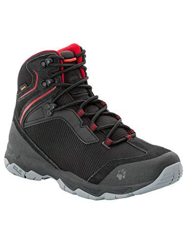 Jack Wolfskin Rock Hunter Texapore Mid M Wasserdicht, Chaussures de Randonnée Hautes Homme, (Black/Red 6047), 44.5 EU
