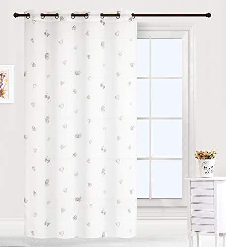 Frenessa 2 Paneles Visillos Cortinas Traslúcidos con Ojales para Ventana Salon Dormitorio Infantil Bebe Niños, 140x260cm, Corazones Grises