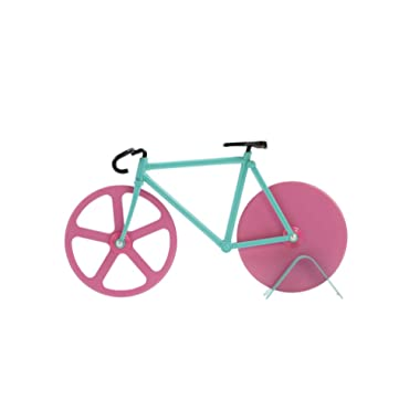 Pizza Cutter - Bicycle Pizza Cutter: Blue & Pink