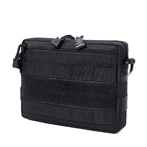 Azarxis Sac de Taille Tactique Molle Sac à Outils Sac d'Accessoires Portable Pochette EDC pour Randonnée Voyage Jeu de Guerre CS (Noir)
