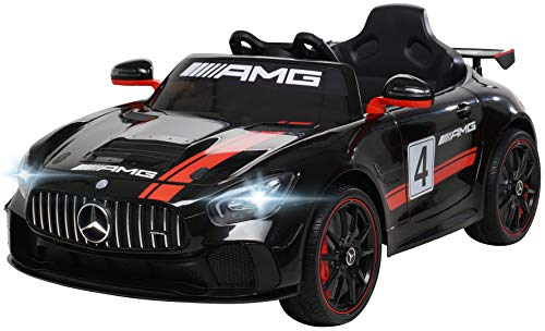 Kinder Elektroauto Mercedes Benz Amg GT4 Sport Edition - Lizenziert - 2,4 Ghz Fernbedienung - Softstart - Elektro Auto für Kinder ab 3 Jahre (Schwarz)