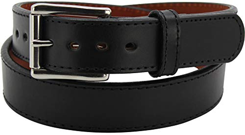Steel Core Gun Belt - Reinforced Leather Gun Belts for Concealed Carry - Black, 36 Inches