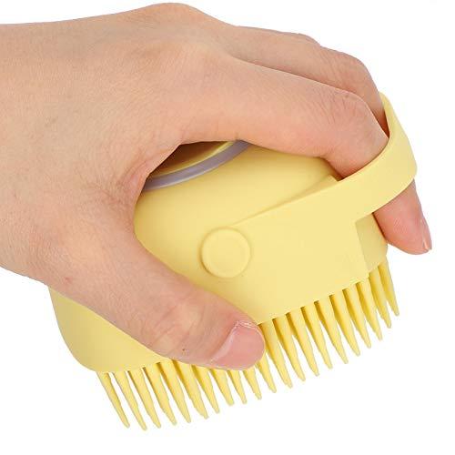 Cepillo de baño para perros Se puede rellenar con gel de ducha, Cepillos de baño para perros, Cepillo de aseo, para mascotas, Masaje de lavado para perros y gatos(yellow)