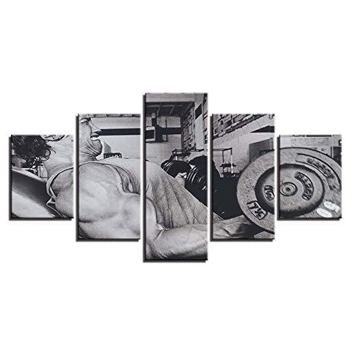SDALD Leinwanddrucke 5 Stück 200x100CM WandKunst Dekor Wohnzimmer 5 Stück Fitness-Übung Langhantel Modulare Gemälde Leinwand Bilder HD Drucke Auf Leinwand 5 Teilig Bilder Wandbild Modern Kunstdruck Wa