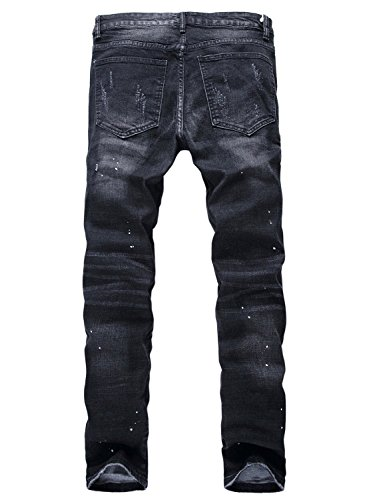 YTD Men's Black Jeans Ripped Distressed Slit Denim Slim Stretch Motor Pants (US 28, Black)