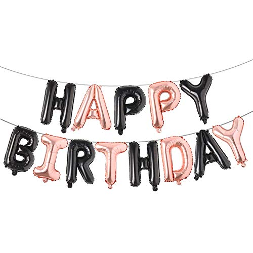 Happy Birthday Balloons, Aluminum Foil Banner Balloons for Birthday Party Decorations and Supplies (Black Rose Gold)