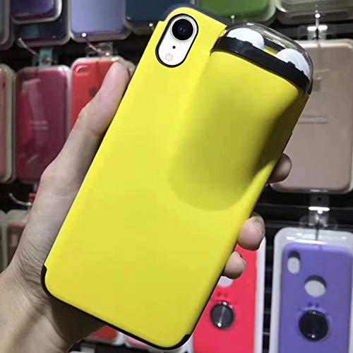 Ysimee Premium Silikon Hülle kompatibel mit iPhone XR, Ultra Dünn Handyhülle Mit Aufbewahrungsbox für Bluetooth-Kopfhörer, Stoßfest Schutz Backcover Weich Handytasche - Gelb