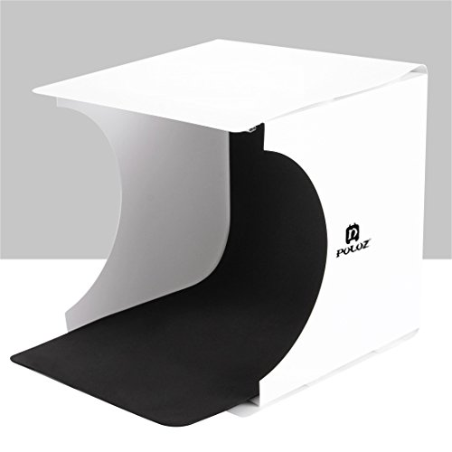 wortek Lichtzelt mit Beleuchtung mobiles Fotostudio Set mit Faltbarer Fotobox 24 x 23 x 22 cm (LxBxH), 2 Hintergründen (schwarz und weiß), integrierter...