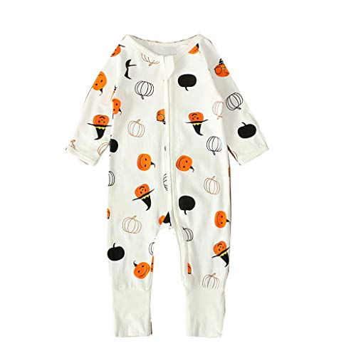 BaZhaHei Halloween Baby Kostüm Jungen Mädchen Karneval Strampler Kostüm Outfit Overall Kleidung Babykleidung Jumpsuit Kürbis Print Outfits Set (18-24 M, Weiß)