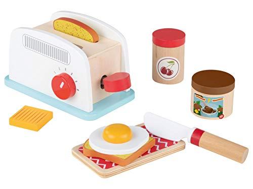 Playtive - Tostadora infantil - Set con función pop-up, 2 rebanadas de tostadas, huevos fritos, mantequilla, crema de nuez y olla de mermelada