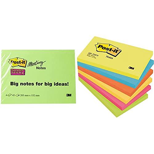 Post-it 6845-SSP Notas adhesivas, 45 hojas, 203 x 152 mm, Colores Surtidos, Paquete de 4 + 3M Pack Notas adhesivas 6 x 100 Bloc de nota , Multicolor (Colores Bangkok), Single, 127 x 76 mm