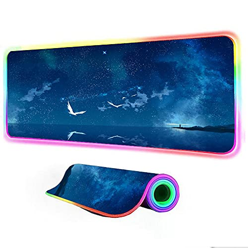 Gaming Mouse Pad Night Blue Sea Landscape Computer PC Keyboard Pad RGB LED Glowing Gaming Gamer XXL PC Desk Mat 24 inch x12 inch x0.15 inch