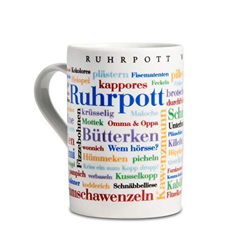 Tasse Ruhrpott Wörter, Mundart-Kaffeebecher mit Dialekt aus dem Ruhrgebiet als Souvenir oder Geschenkidee, mehrfarbig