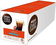 Nescafé DOLCE GUSTO Café LUNGO DESCAFEINADO, Pack de 3 x 16 Cápsulas - Total: 48 Cápsulas