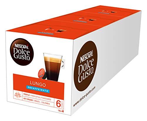 NESCAFÉ Dolce Gusto Lungo Decaffeinato | 48 Kaffeekapseln | Entkoffeiniert | 100{06481dda08aef4e1aaefba9a33ac2f2b3e462de11c144a0d78a2c803d5c5fbdc} Arabica Bohnen aus Südamerika | Feine Crema | Aromaversiegelte Kapseln | 3er Pack (3 x 16 Kapseln)