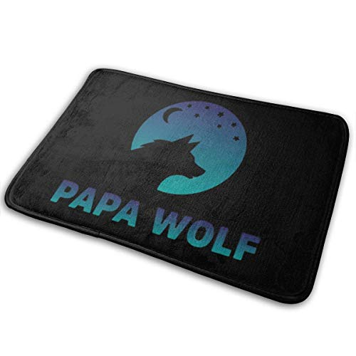 siming Papa Wolf Home Doormats Unique Indoor Outdoor Mat Anti-Skid Bathroom Kitchen Carpet 15.7' X 23.5'