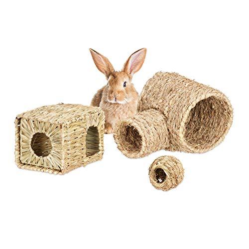 Relaxdays - Accesorios para Animales pequeños, 3 Piezas, casa de Hierba, túnel de heno y Pelotas de Comida, Objetos, Naturaleza