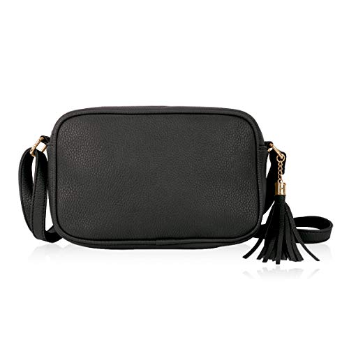Classic Rectangle Vegan Leather Small Purse Handbag - Structured Camera Messenger Bag Shoulder Crossbody Strap & Tassel Charm (Tassel Camera Bag - Black)