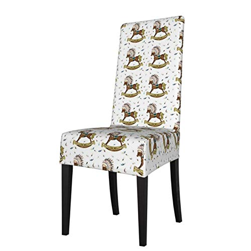 KAZOGU Pack of 2 Stretch Dining Chair Covers Boho Rocking Horse Seat Protector Slipcover for Wedding Chairs Decor