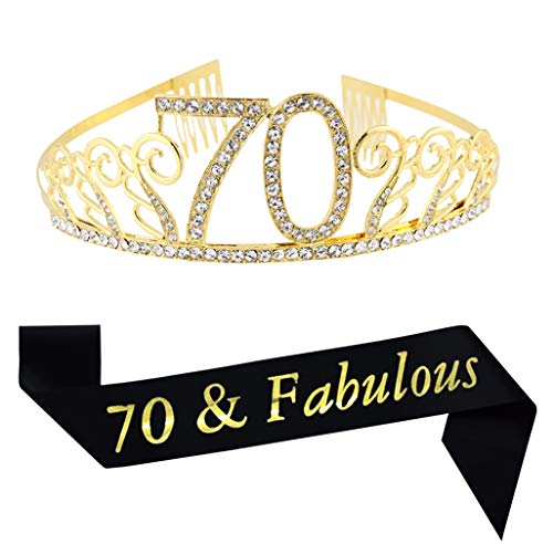 Find Bargain 70th Birthday Gold Tiara and Sash Glitter Satin Sash and Crystal Rhinestone Tiara Crown...