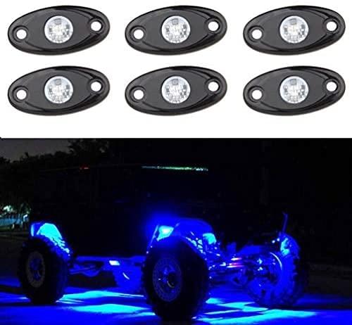 SUNPIE Blue LED Rock Lights Kits with 6...