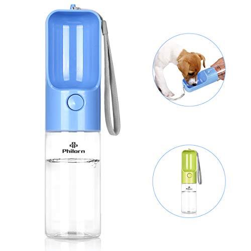 PHILORN Hundetrinkflasche für Unterwegs [420ml], BPA-frei, 100% Auslaufsicher, Tragbare Reise Haustier Wasserflasche, Hund Katze Trinkflasche, Hunde Katzen Flasche - Einknopfbedienung (Blau)