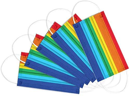 Chigga 50 Modische Siebenfarbige Regenbogenvliesstoffe, Personalisierte DruckdekorationszubehöRteile, Bieten Starken Gesundheitsschutz Und Sind FüR Erwachsene Gesichter Geeignet
