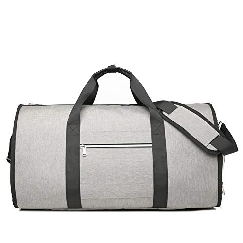Garment Bag Carry on Duffle Suit Bag with Shoe Pocket,Convertible Hanging Duffel Travel Suitcase for Men Women - grey - 21.65x10.23x12.20