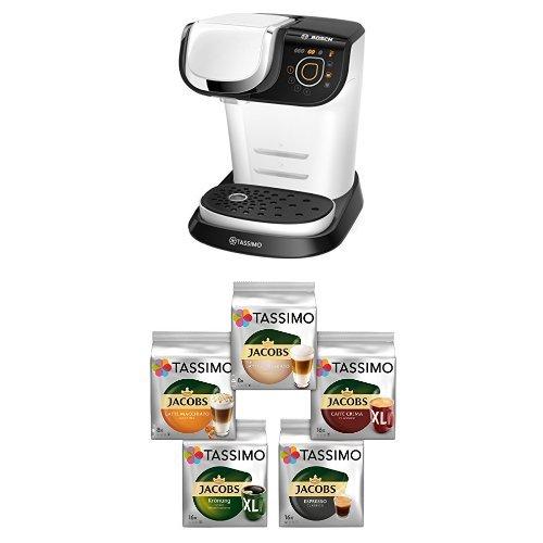 Bosch TAS6004 Multigetränkeautomat Tassimo My Way + Tassimo Vielfaltspaket - 5 verschiedene Packungen kaffeehaltiger Getränke T Discs