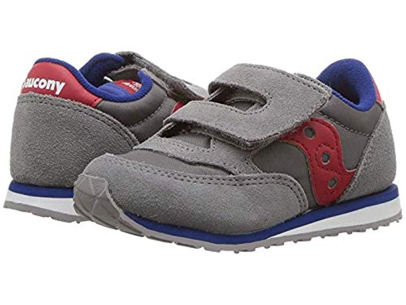 警告するチャネルメタリック[サッカニー] キッズカジュアルシューズ?靴 Originals Jazz Hook & Loop (Toddler/Little Kid) Grey/Red 13.5cm M [並行輸入品]