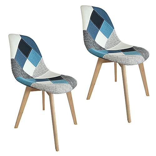 Sedie da pranzo imbottite Patchwork in set da 2, 4 o 6 sedie con gambe in legno (Blue, 2)