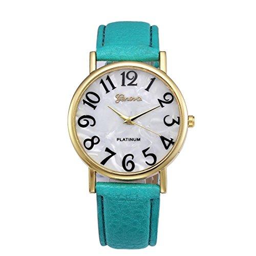 Xinantime Relojes Pulsera Mujer,Xinan Digital Retro Dial Cuero Banda Relojes de Cuarzo (Verde)