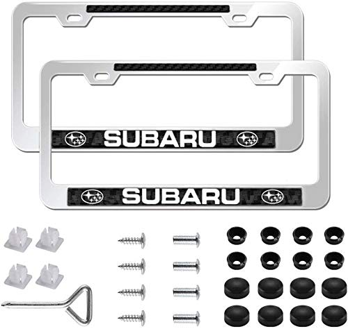 Aswelly for Subaru Car License Plate Frame,2 Pcs Newest Silver Aluminum Alloy Auto Plate Frames Covers with Screw Caps Cover Set,Applicable to US CA Standard