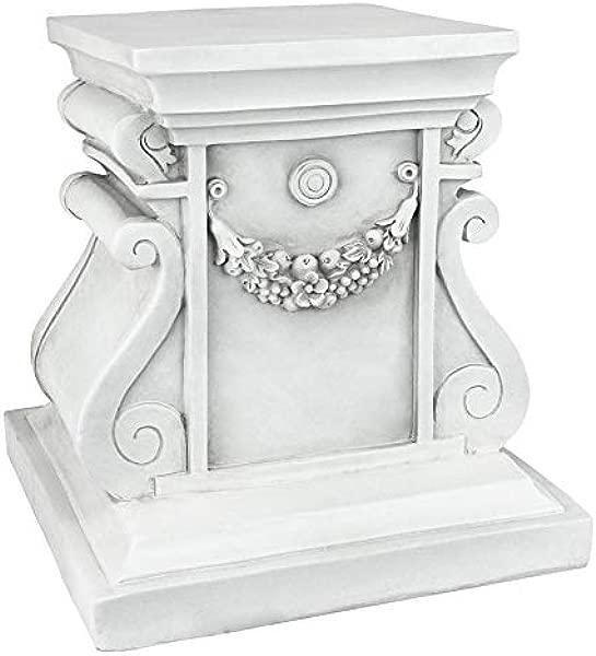设计托斯卡诺经典雕塑花园底座立管中号 12 英寸树脂仿古石