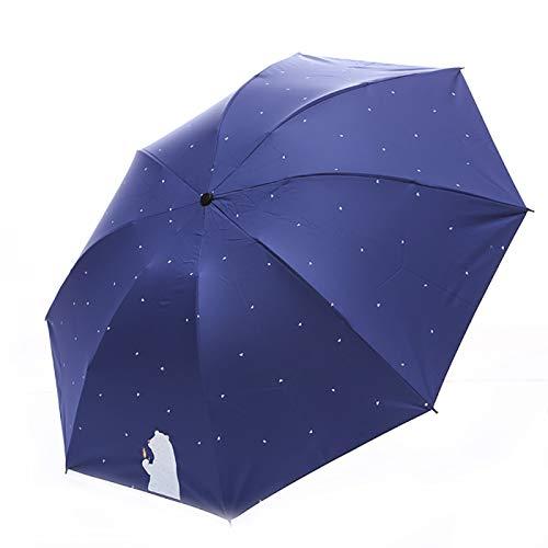 Paraguas plegable de viaje de dibujos animados oso lunares patrón mujeres 3...