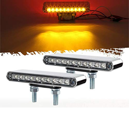 "Partsam 2Pcs 6.5"" Double Face Truck Semi Trailer Light Bars 10LED Red/Amber Clear Lens Waterproof with Double Studs Sealed Dual Face Led Turn Signal Stop Tail Marker Lights 12V"