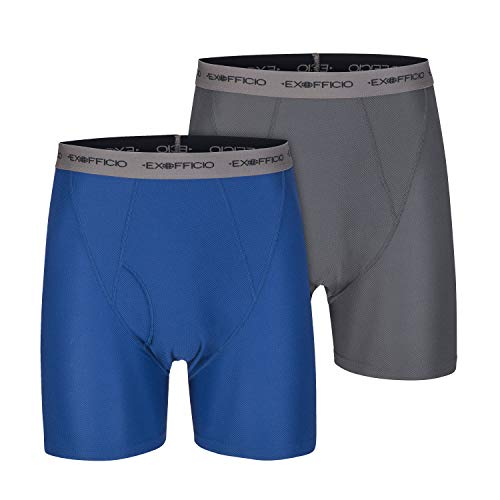 ExOfficio Men's Give-N-Go Boxer Brief, Granite/Admiral, 2 Pack - XX-Large