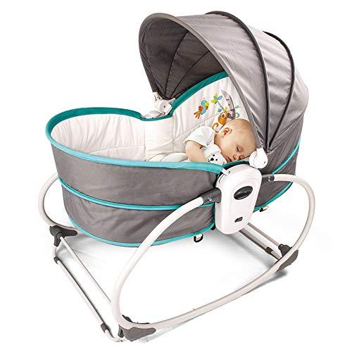 ZHFC Cuna Mecedora para bebés 5 en 1, Cama de Viaje portátil para bebés con música y Juguetes, toldo Ajustable y Desmontable, Cuna Multifuncional para recién Nacidos