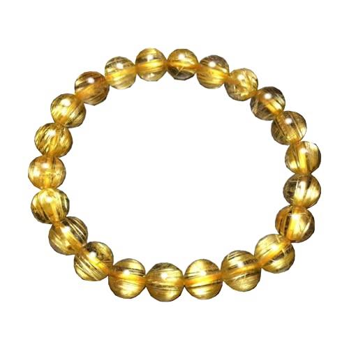Certificado de 8,5 mm de oro natural de cuarzo rutilado redondo pulsera elástica para mujeres ricos y hombres, joyería brasileña curación AAAAA
