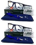 Gafas ver de cerca, lectura con Filtro Luz Azul, Ordenador Gaming Móvil, Protección Antifatiga - Venice Coti Dioptría (1-1,50-2 - 2,50-3 - 3,50) (Pack 2 unidades Azul, 2,00)