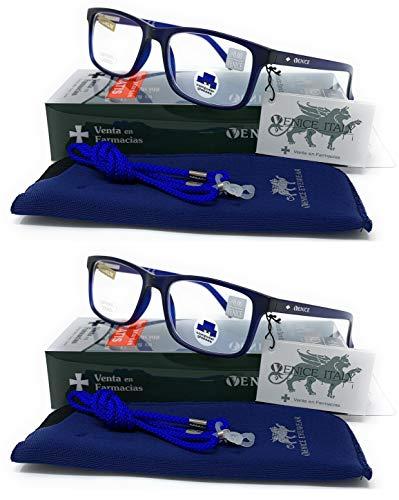 Gafas ver de cerca, lectura con Filtro Luz Azul, Ordenador Gaming Móvil, Protección Antifatiga - Venice Coti Dioptría (1-1,50-2 - 2,50-3 - 3,50) (Pack 2 unidades Azul, 1,50)